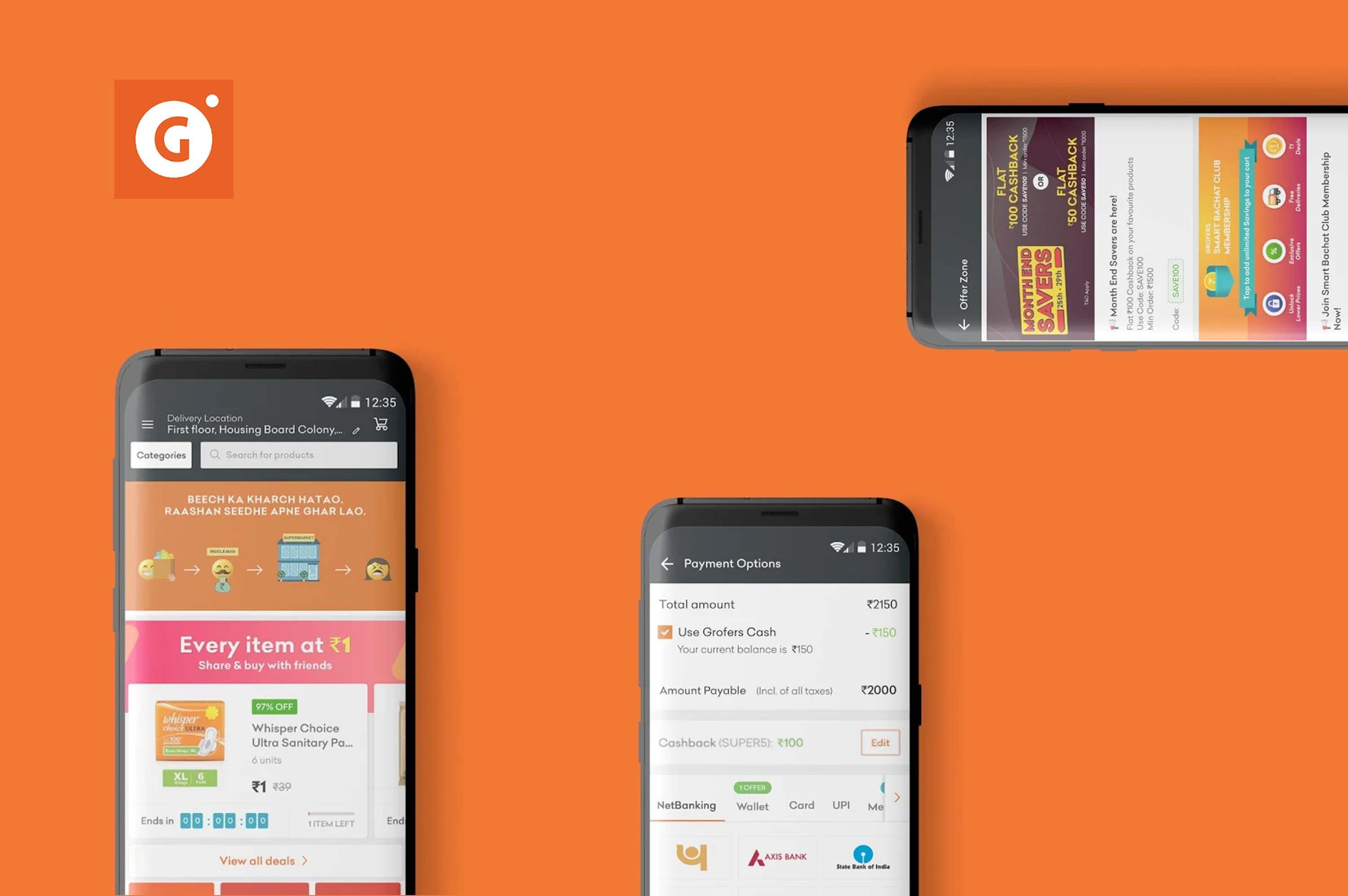 three smartphone opened with grofers app on their screens