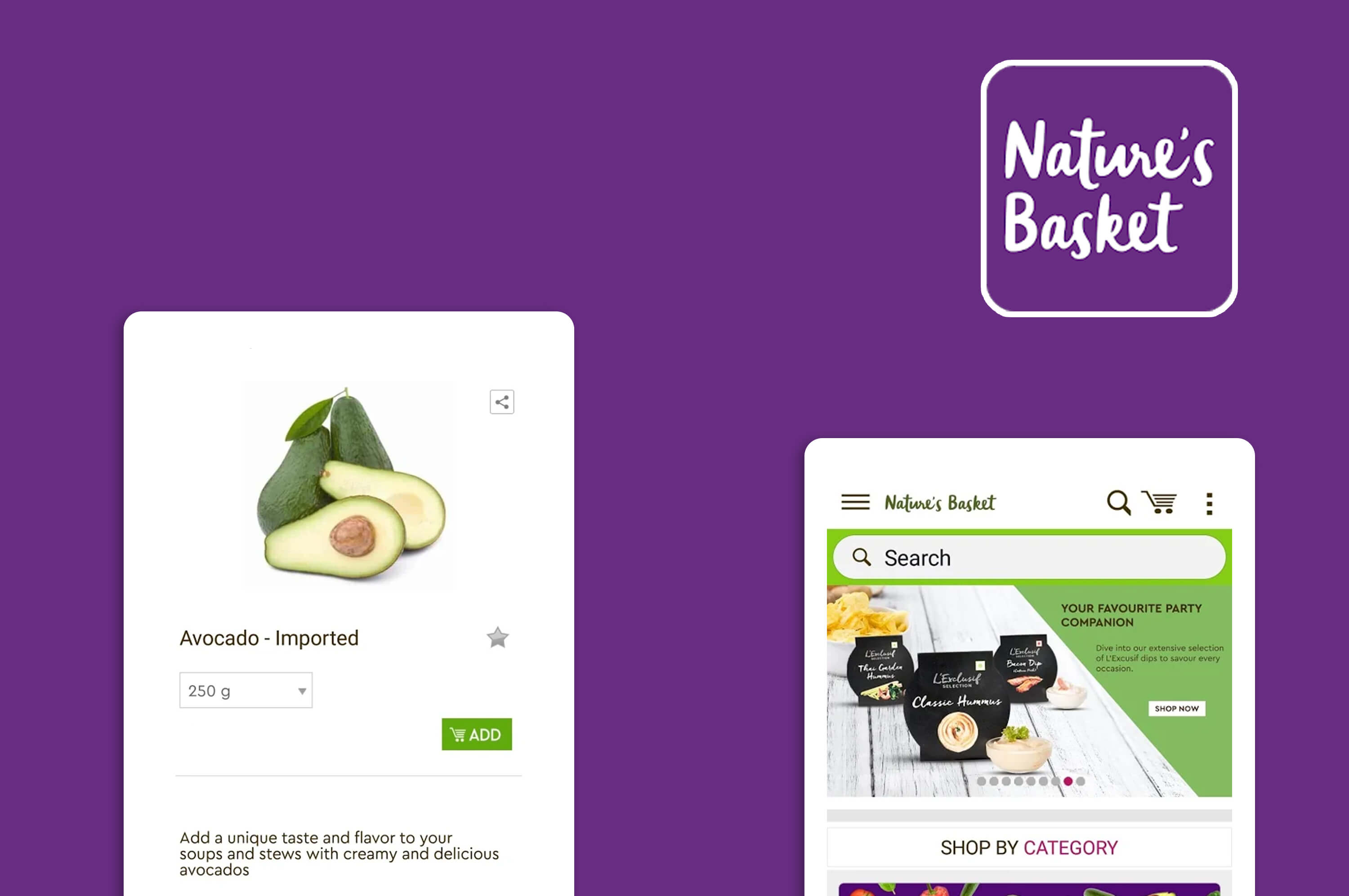 two different screens of nature basket app on a violet background