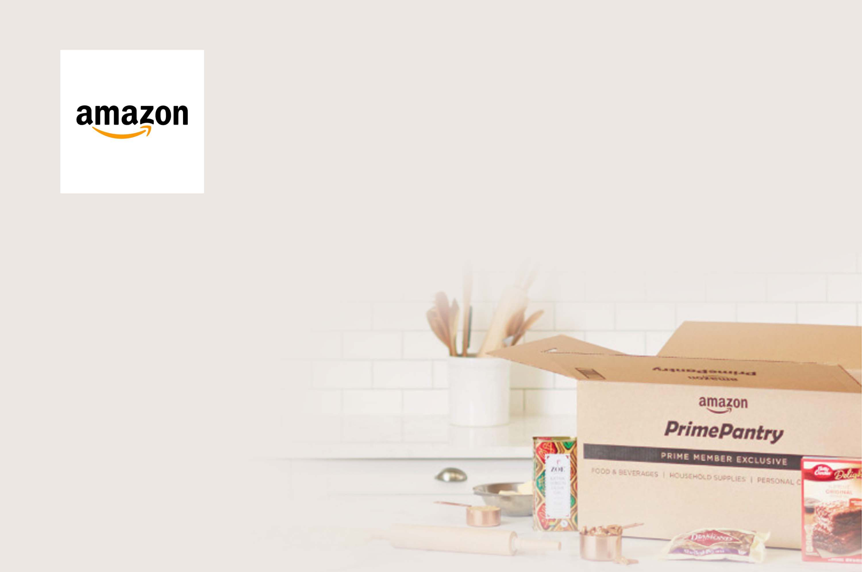 a amazon prime pantry cardboard box with grocery items