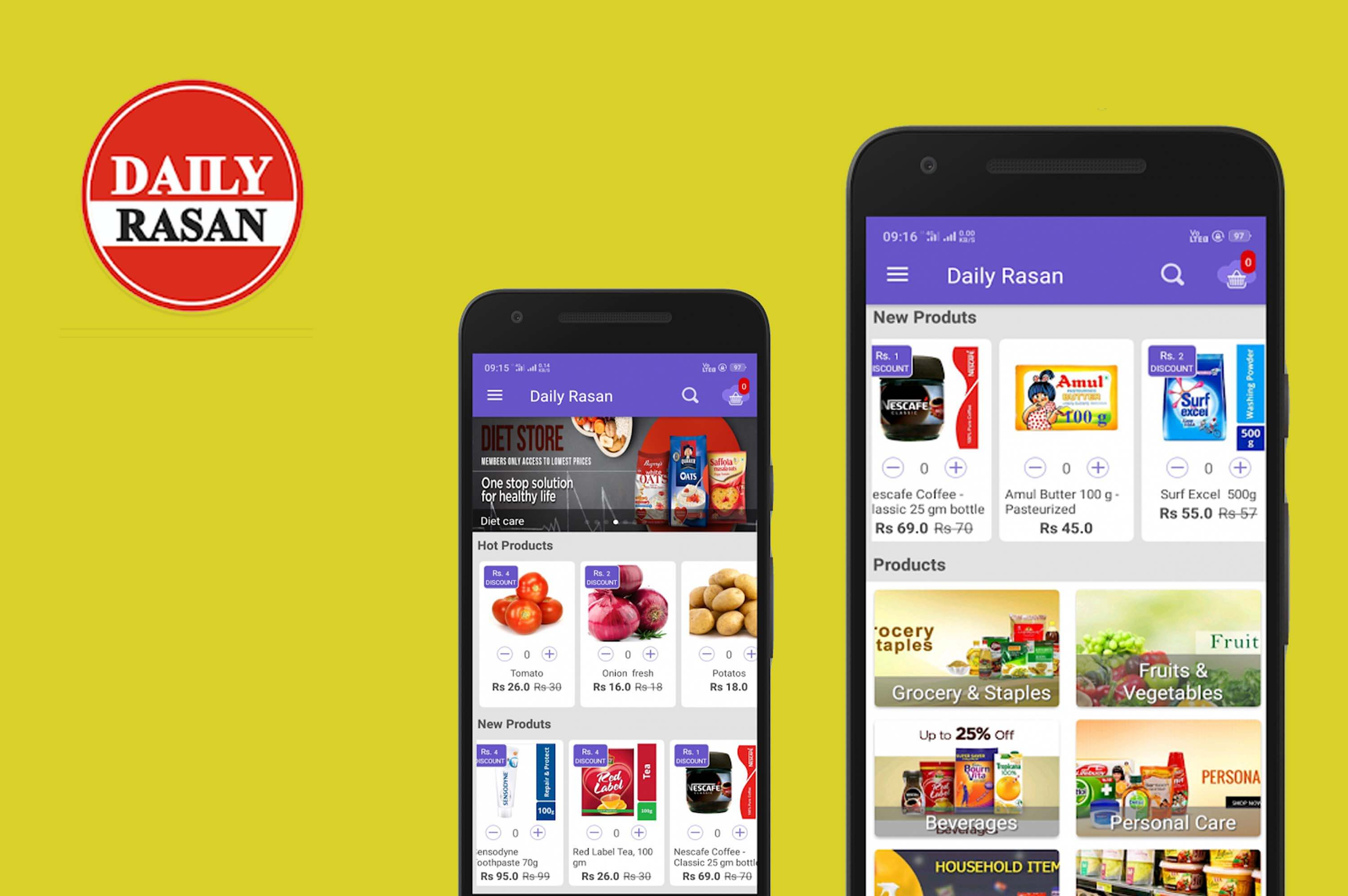 two smartphones with daily rasan app opened