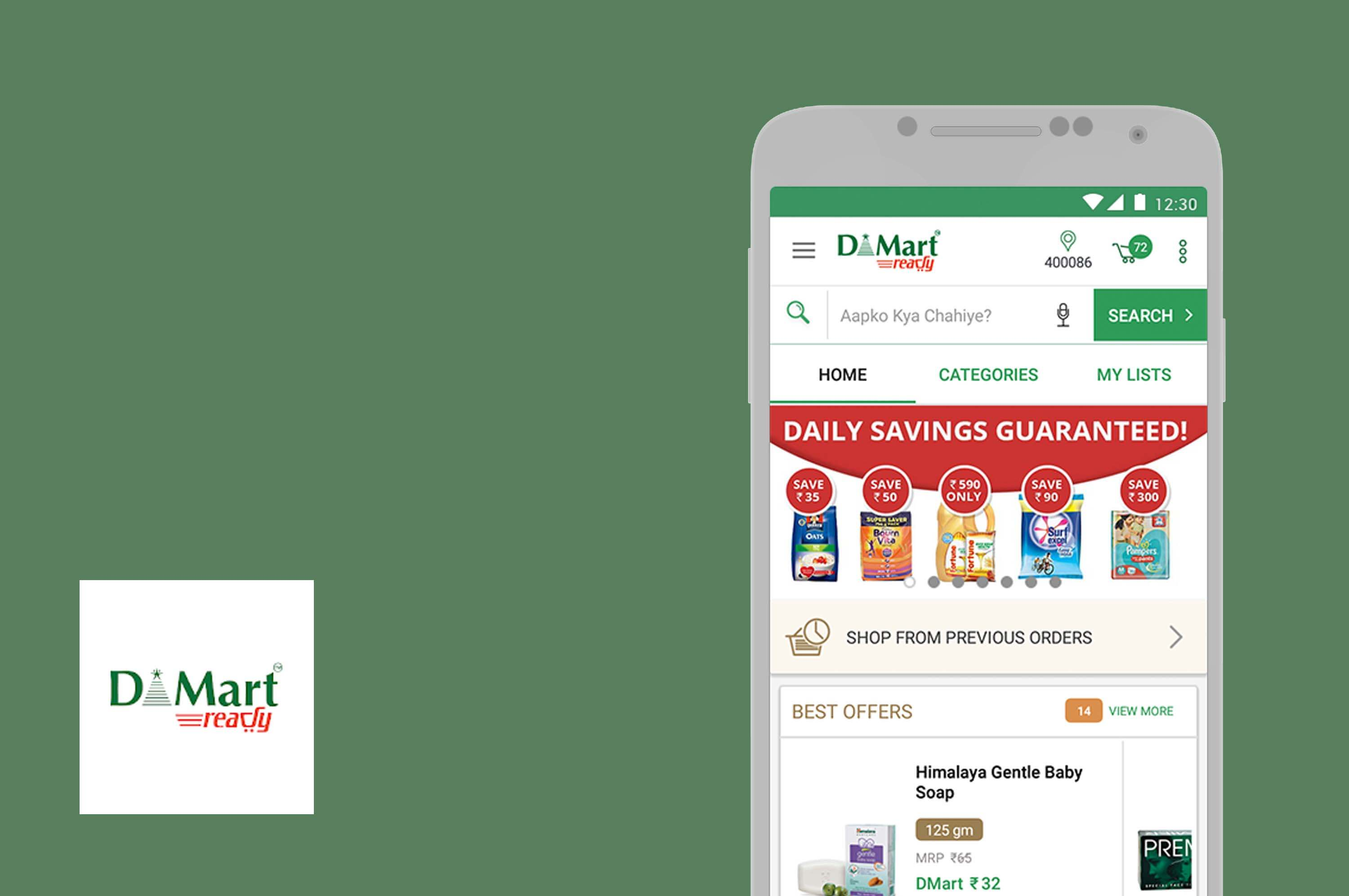 an android smartphone with dmart app opened