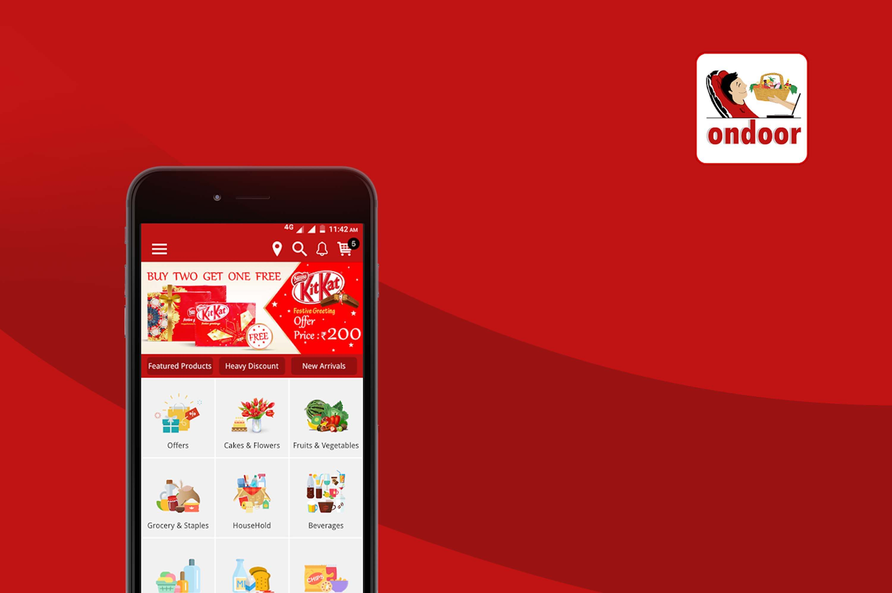 a smartphone with ondoor grocery delivery app opened