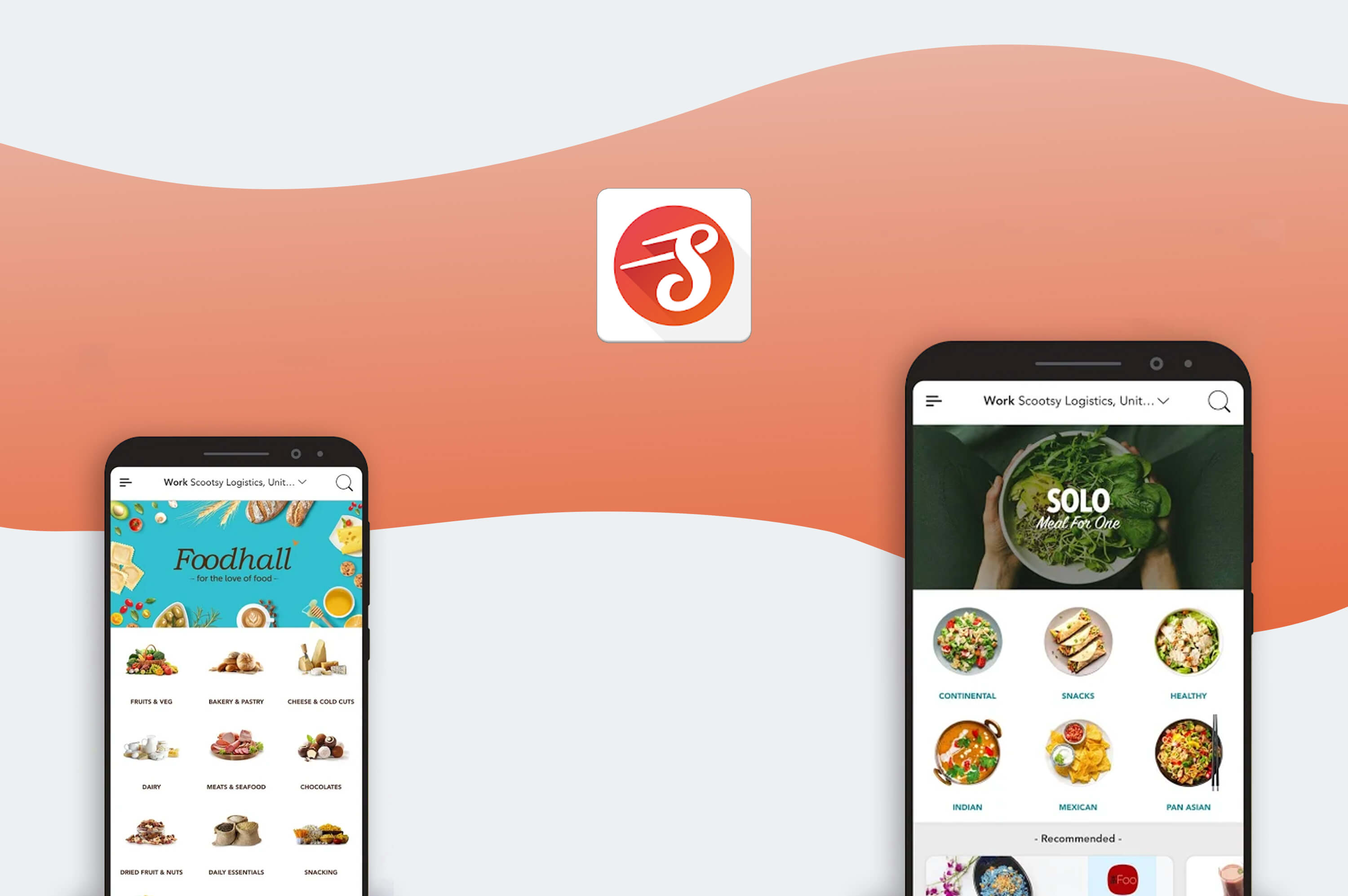 two smartphones with scootsy food delivery app opened on the screen