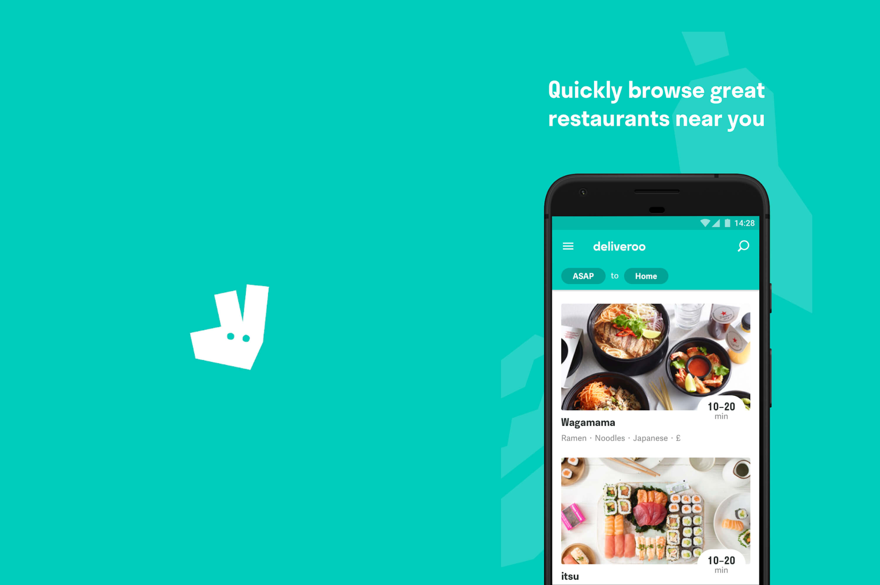 deliveroo app opened in a black smartphone