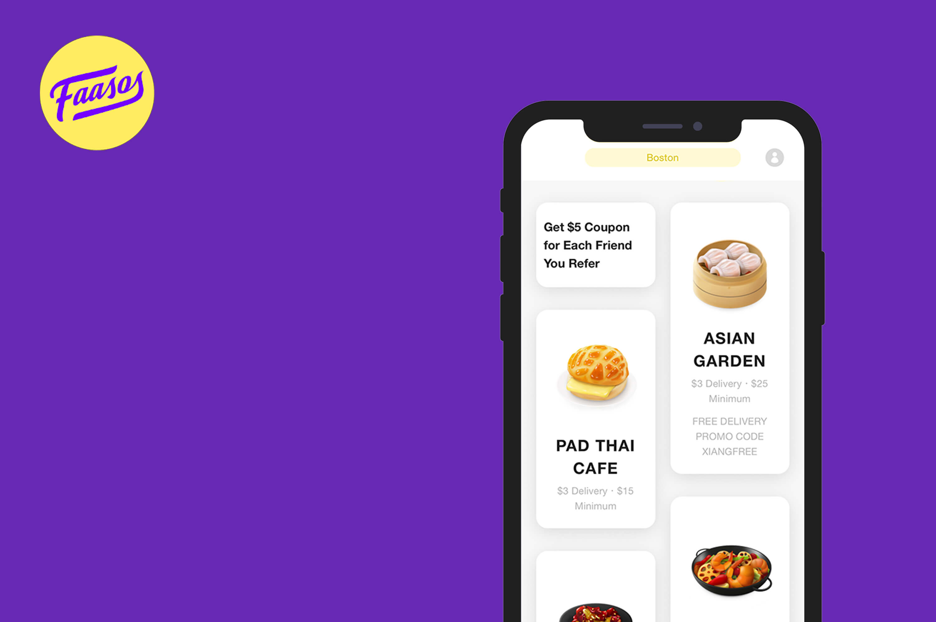 a smartphone which is opened faasos app on the screen