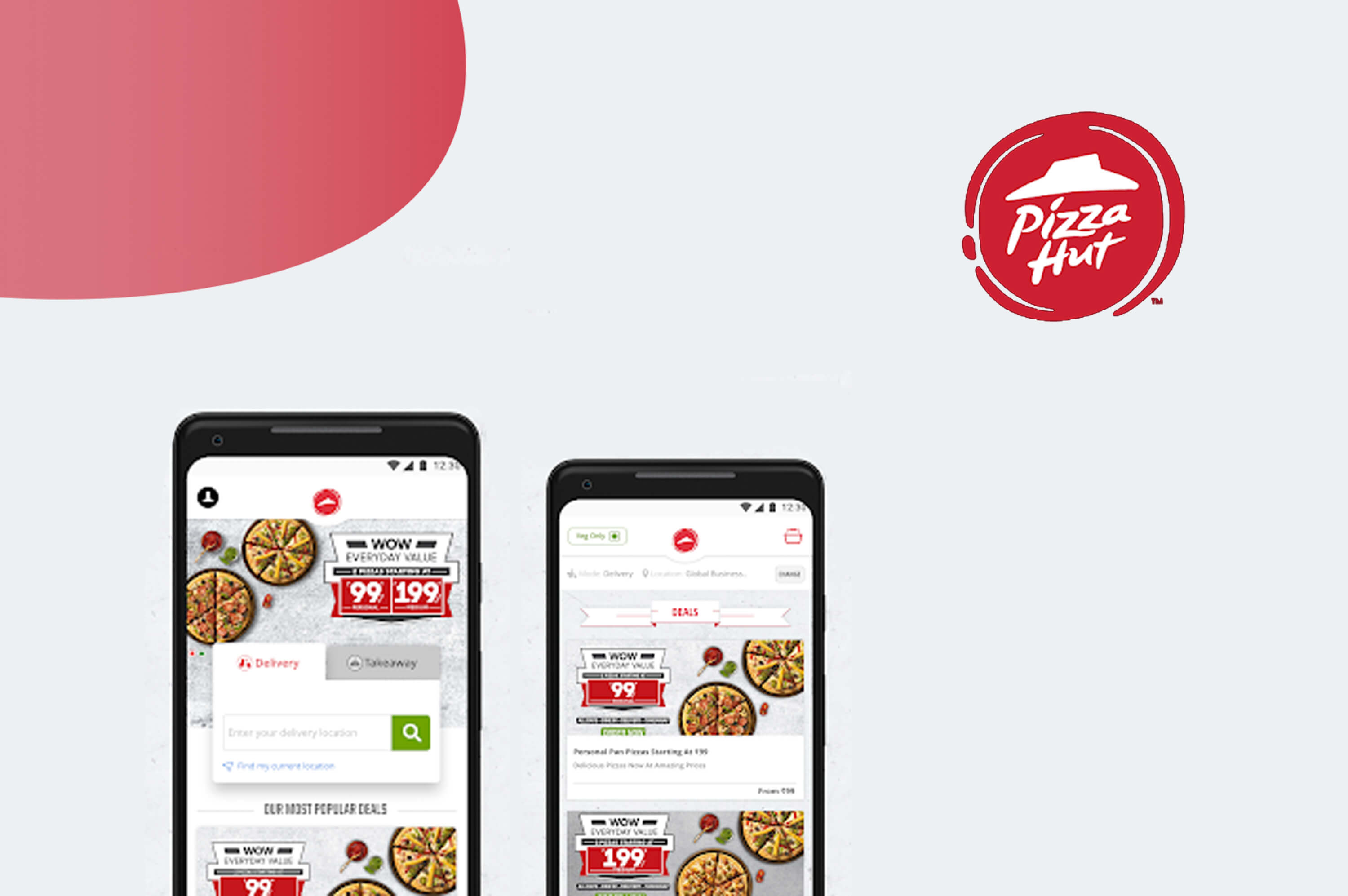 two smartphones with pizza hut is opened in the screen